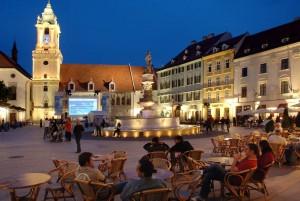 Вечер на центральной площади Братиславы