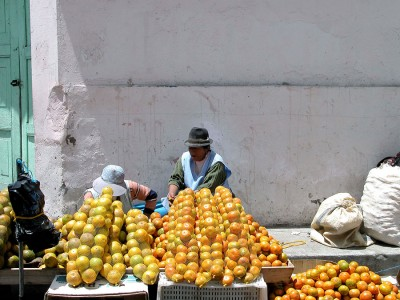 На уличных прилавках в Еквадоре фрукты можно купить сетками