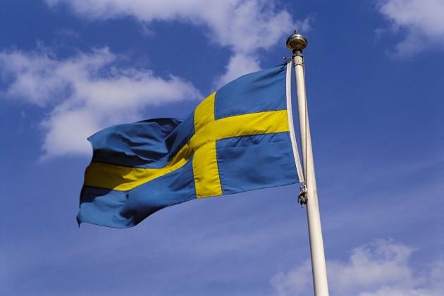 Развевающийся флаг Швеции