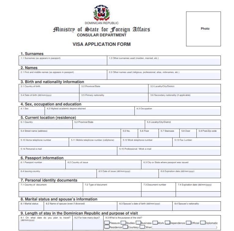 Образец заполнения анкеты на визу в Доминикану