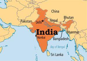 Республика Индия на карте