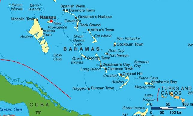 Багамы на карте