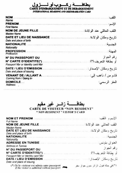 Миграционная анкета в Тунис