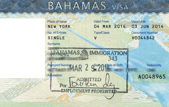 Багамская виза