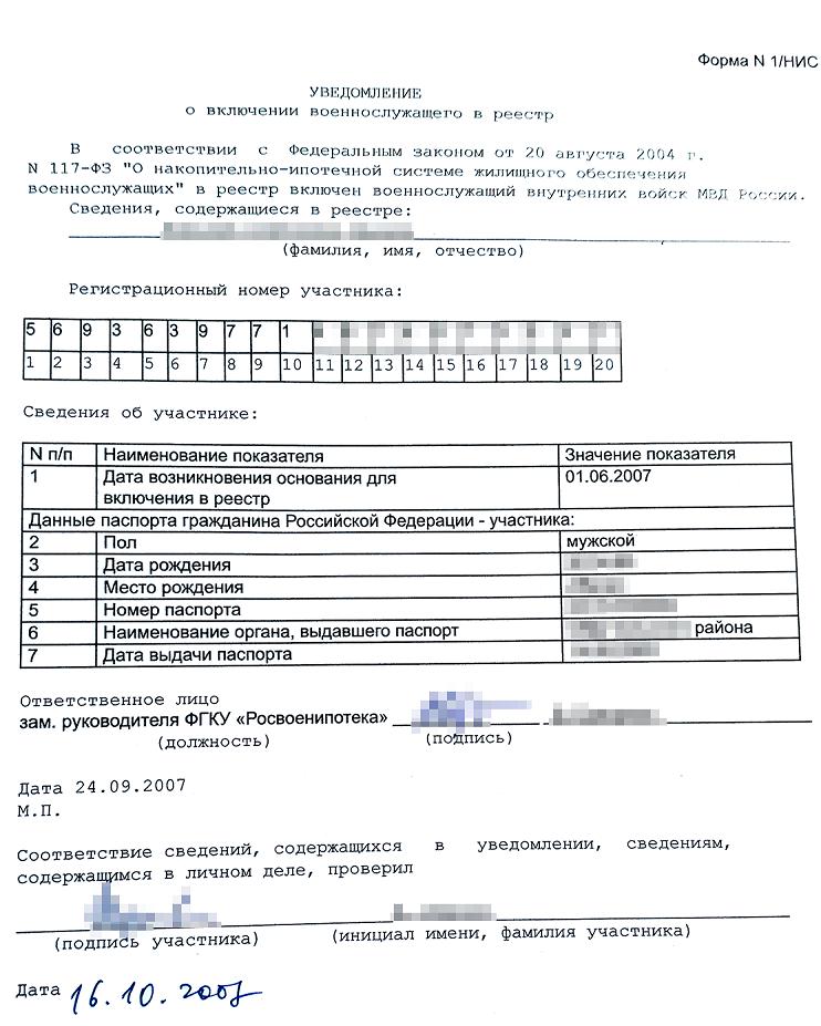 Уведомление о включение военнослужащего в реестр
