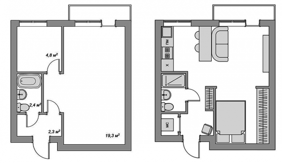Перепланировка из 1-комнатной в 2-комнатную