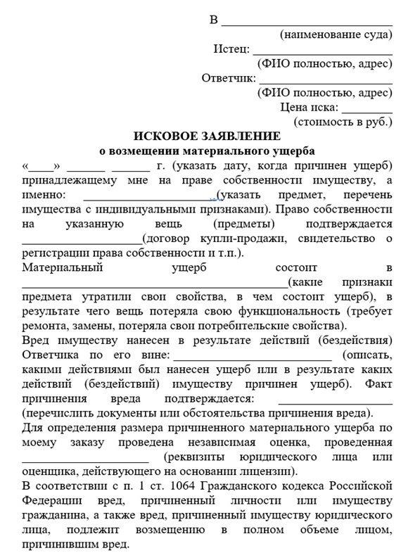 Образец бланка искового заявления (2)