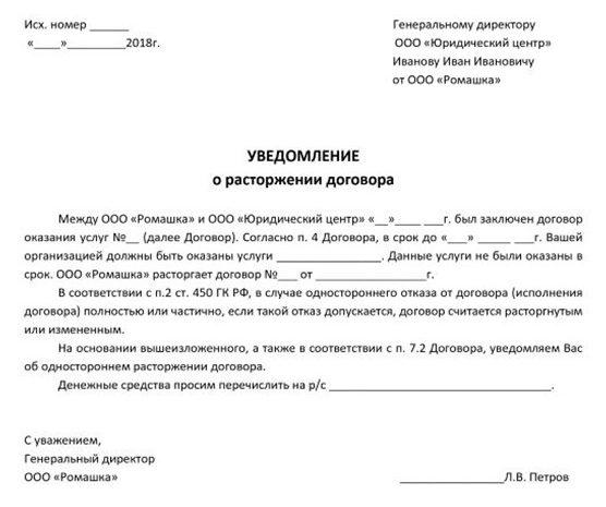 Образец письма (уведомления) о расторжении договора